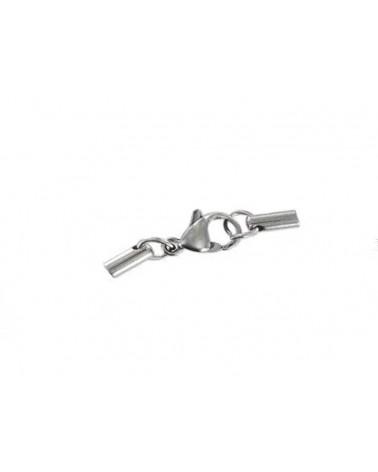 Fermoir et embouts pour cordon 2mm en Acier-inoxydable