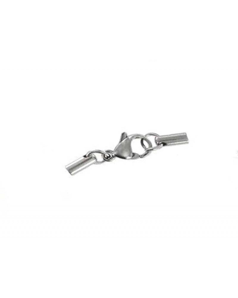 Fermoir-et embouts-tubes-pour- cordon 2mm-Acier-inoxydable-G399-66