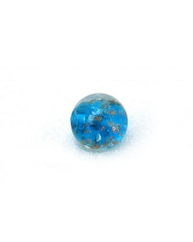 Perle- Bleu-Turquoise-en- verre-feuille-d'or-14mm x 1-B57-6