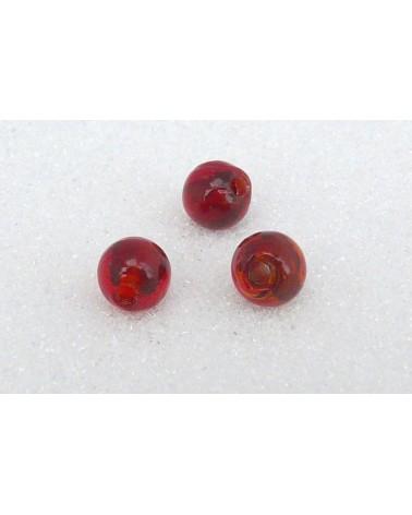 Perle-de -Verre-Rouge-à reflets-16mm x1