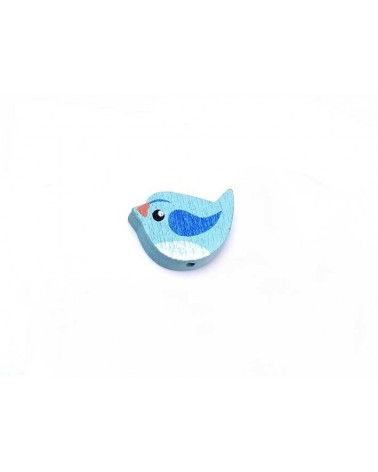 Oiseau bois 22x14mm Turquoise x1