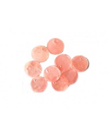 Sequins de nacre 13mm rose saumon x12