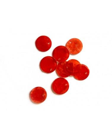 Sequins de nacre 13mm rouge x12