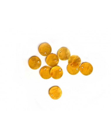 Sequins de nacre 13mm jaune x12