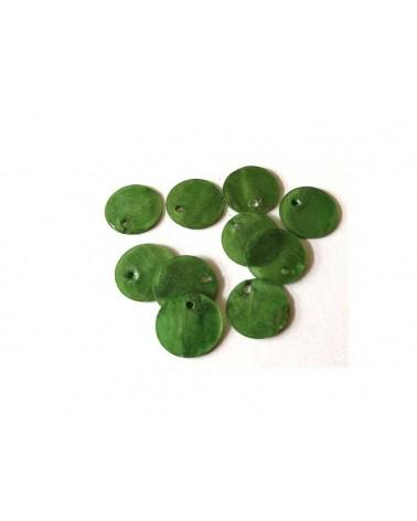 Sequins de nacre 13mm vert x12