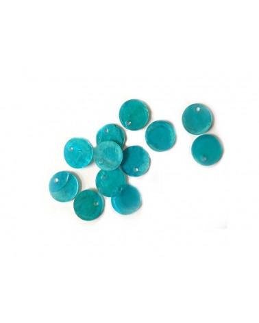 Sequins de nacre 13mm Turquoise x12