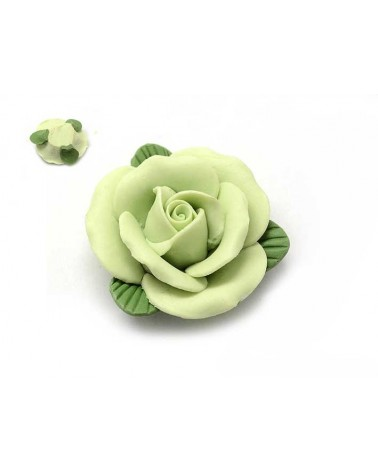 Rose cabochon 30mm porcelaine verte X1