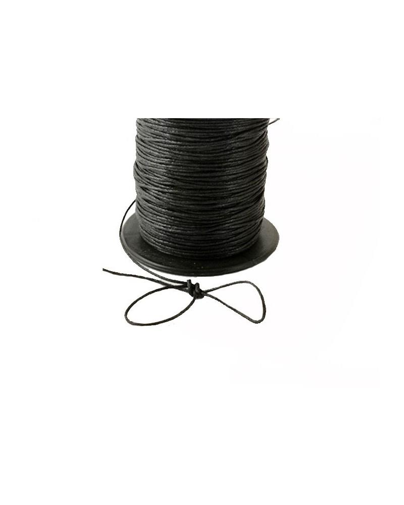 Fil coton tressé enduit 1mm noir x3M