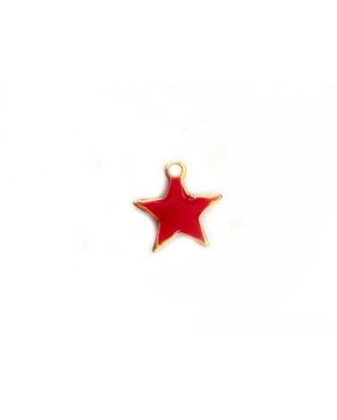 Breloque étoile 10mm émail rouge x1
