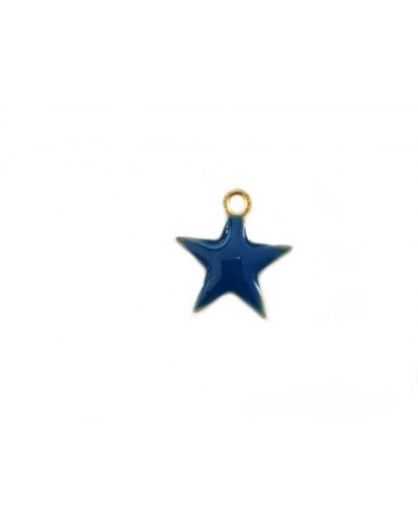Breloque étoile 10mm émail bleu x1