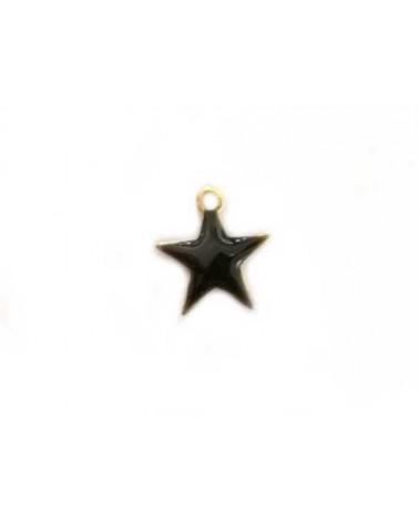 Breloque étoile 10mm émail noir x1