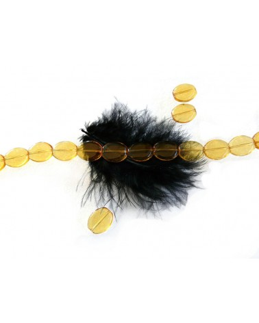 Perle de verre ovale lisse 16 x 14 x 4mm jaune  x10