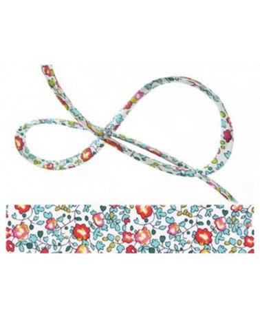 Cordon tissu liberty Eloïse bleu-rouge x 20cm