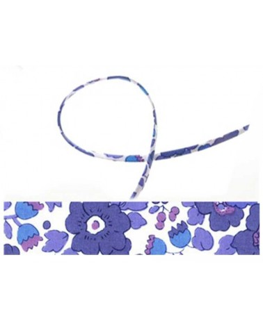 Cordon tissu liberty Betsy bleu x 20cm