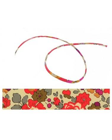 Cordon tissu liberty Betsy rouge x 20cm