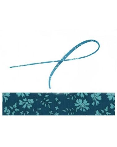 Cordon tissu liberty Capel bleu vert 20cm