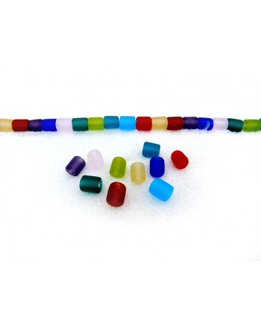 10 perles givrées en verre de Murano 7 x6 mm-couleurs mélangées
