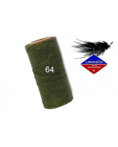 Fil ciré 0.5MM Linhasita vert khaki (64) X 5M