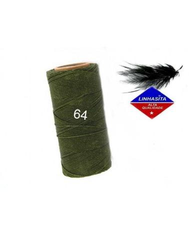 Fil ciré 1MM Linhasita vert kaki (64) X 5M