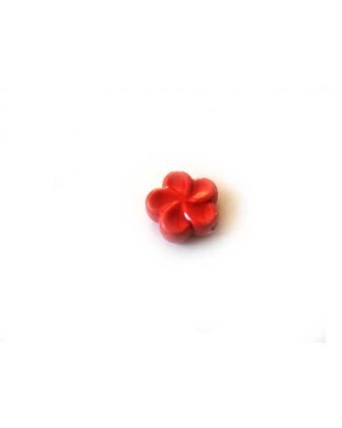 FLEUR EN CERAMIQUE 18mm rouge  x1