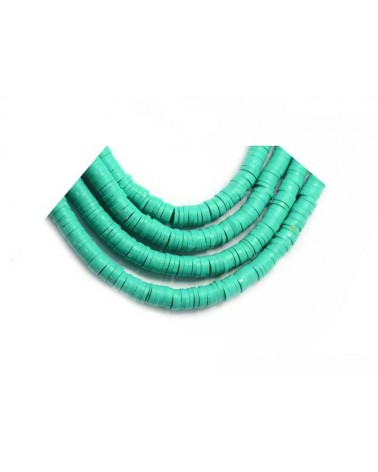 Rondelle Heishi 6x1mm pâte polymère turquoise vert x46cm