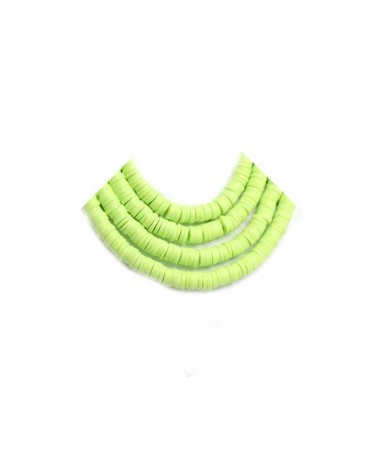 Rondelle Heishi 6x1mm pâte polymère citron vert x46cm