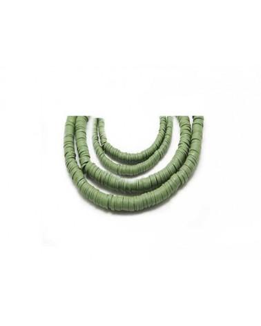 Rondelle Heishi 6x1mm pâte polymère vert olive x46cm