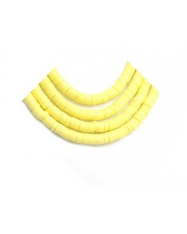 Rondelle Heishi 6x1mm pâte polymère jaune clair x46cm