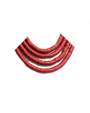 Rondelle Heishi 6x1mm pâte polymère rouge brique x46cm
