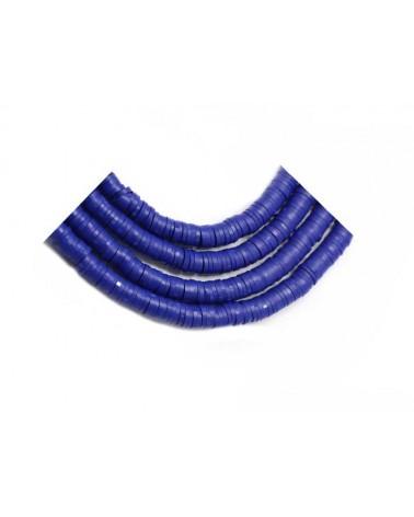 Rondelle Heishi 6x1mm pâte polymère Bleu de France x46cm