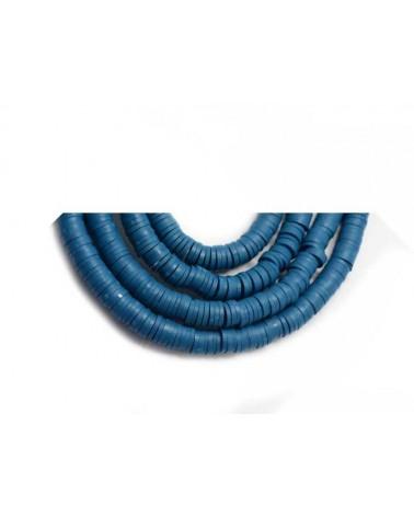 Rondelle Heishi 6x1mm pâte polymère Bleu canard x46cm