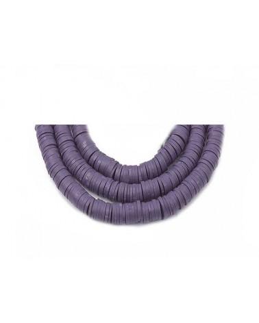 Rondelle Heishi 6x1mm pâte polymère violet x46cm
