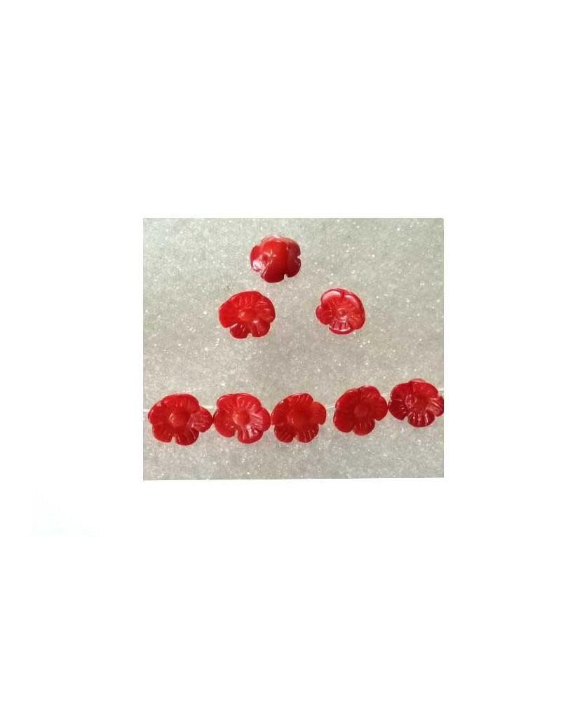 Fleur corail 10mm rouge x1