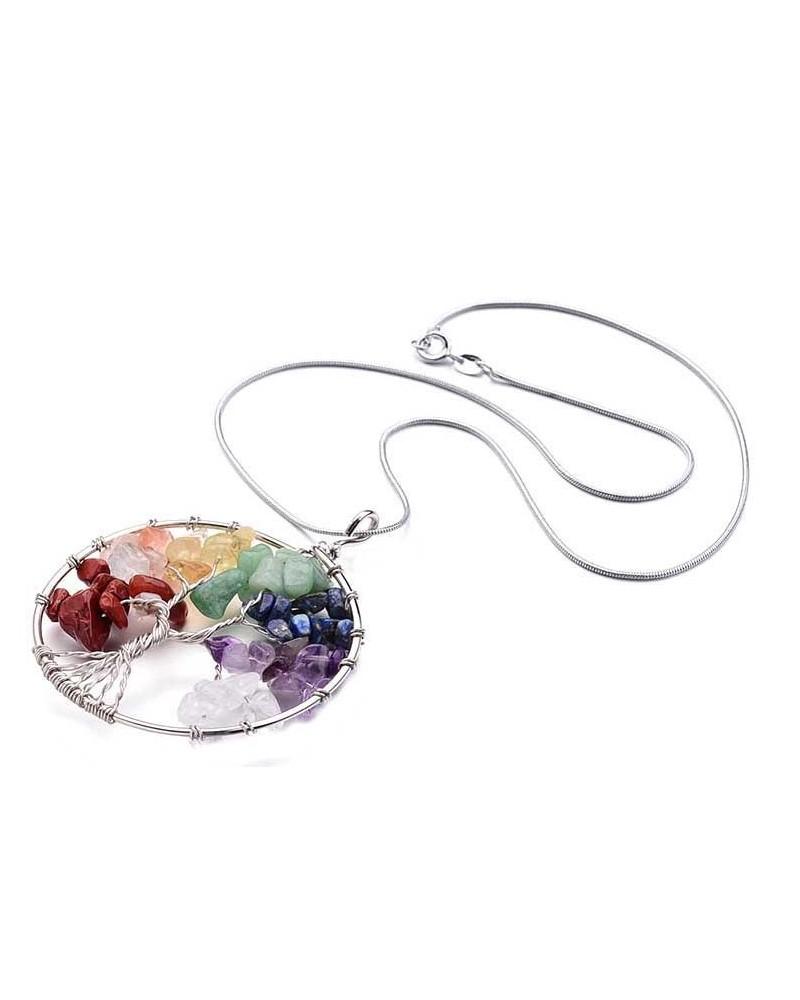 Arbre de vie 7 chakras perles gemmes et chaine serpent inox 316