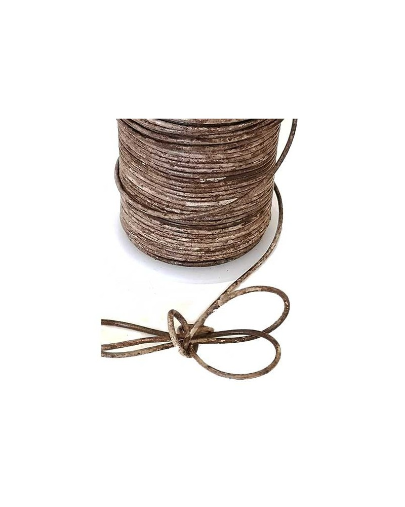 Cordon cuir 2mm vintage brun x1M