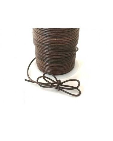 Cordon cuir 2mm vintage brun caramel x1M