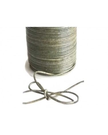 Cordon cuir 1.5mm vintage vert x1M