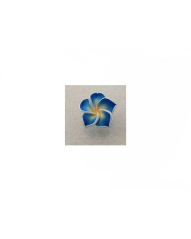 Fleur Fimo 20mm bleu jaune blanc X1