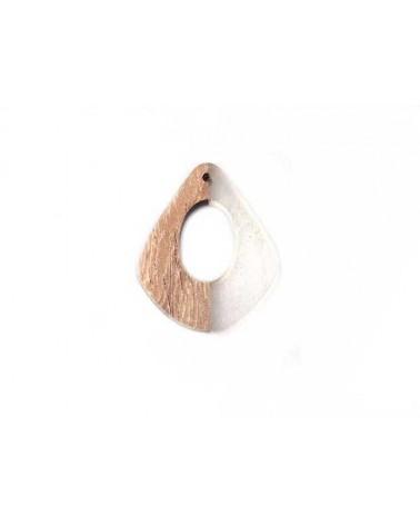 pendentif goutte bois ajouré 32x23mm brun et clair x1