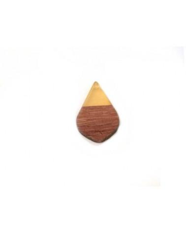 pendentif goutte bois 28x18mm brun et ambre x1