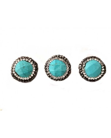 Palet howlite strass noir blanc 17mm turquoise x1