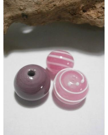 Celine Wojcik - Ensemble de 3 perles Rose et Violet