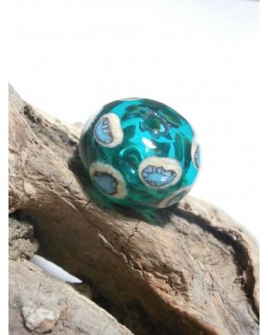 Celine Wojcik - 1 perle creuse VERT émeraude à points ivoire et bleu