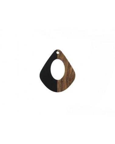 pendentif goutte bois ajouré 32x23mm noir et bois x1