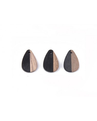 pendentif goutte bois 28x18mm bois noir et brun  x1