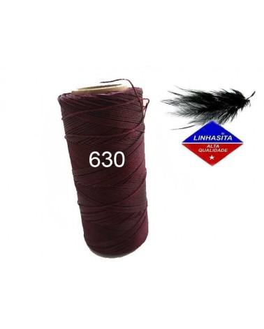 Fil ciré 0.5MM micro macramé Linhasita Cherry Black (630)