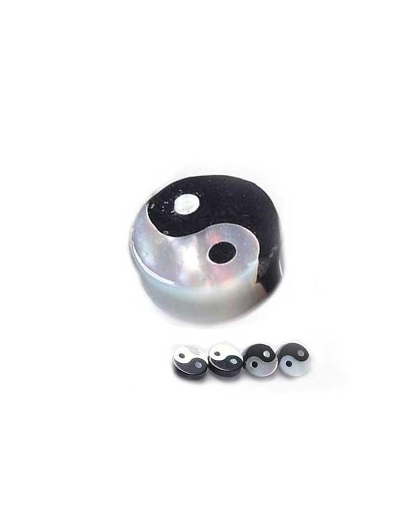 Symbole yin et yang 8mm noir et blanc X 1