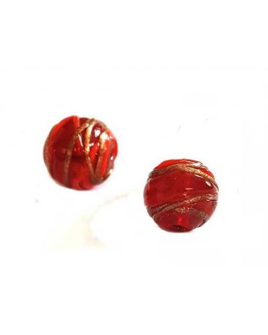 Ronde 12mm verre rouge décor filet X1