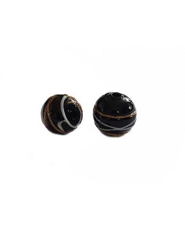Ronde 12mm verre noir décor filet X1