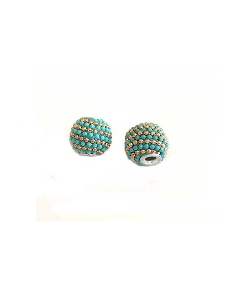 Perle d'indonésie 15x12mm turquoise et or X 1